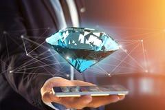 Diamant som framme shinning av anslutningar - 3d framför Arkivfoton