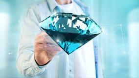Diamant som framme shinning av anslutningar - 3d framför Arkivbild