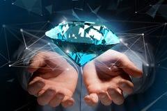 Diamant som framme shinning av anslutningar - 3d framför Arkivbilder