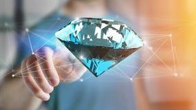Diamant som framme shinning av anslutningar - 3d framför Arkivfoto