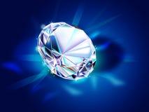 Diamant sur le fond bleu-foncé Photographie stock libre de droits