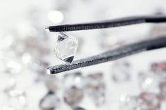 Diamant transparent naturel dans des brucelles Images libres de droits