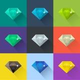 Diamant vectordieillustratie in vlak ontwerp wordt geplaatst Gekleurde pictogrammen Royalty-vrije Stock Afbeelding