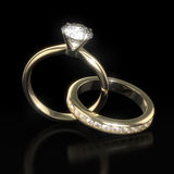 Diamantbröllop ringer - den fästa ihop banan Royaltyfri Bild