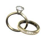 Diamantbröllop ringer - den fästa ihop banan arkivbilder