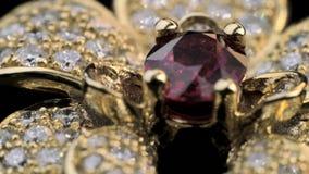Diamantcirkel med rubinen i guld- smycken stock video