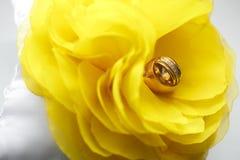 Diamantcirkel på den gula blomman Brud i den vita klänningen Arkivbilder
