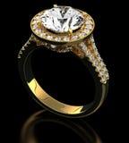 Diamantcirkel på svart royaltyfri illustrationer