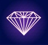 Diamante al neon di rosa di vettore Illustrazione di un diamante rosa illustrazione di stock