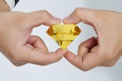 Diamante amarillo enorme Fotos de archivo