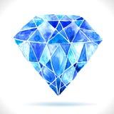 Diamante azul bonito da aquarela ilustração do vetor
