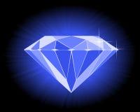 Diamante blu sfaccettato Fotografia Stock