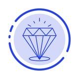 Diamante, brilho, caro, linha pontilhada azul linha ícone da pedra ilustração royalty free