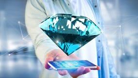 Diamante che shinning davanti ai collegamenti - 3d rendono Immagini Stock Libere da Diritti
