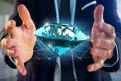 Diamante che shinning davanti ai collegamenti - 3d rendono Immagine Stock