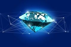 Diamante che shinning davanti ai collegamenti - 3d rendono Fotografia Stock Libera da Diritti