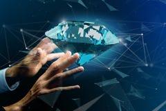 Diamante che shinning davanti ai collegamenti - 3d rendono Fotografie Stock Libere da Diritti