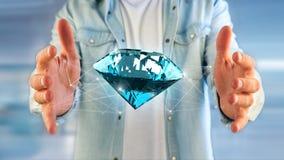 Diamante che shinning davanti ai collegamenti - 3d rendono Fotografie Stock