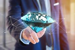 Diamante che shinning davanti ai collegamenti - 3d rendono Immagine Stock Libera da Diritti