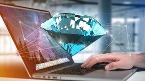 Diamante che shinning davanti ai collegamenti - 3d rendono Immagini Stock