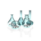Diamante com vidro no fundo branco Imagens de Stock Royalty Free
