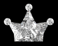Diamante dado forma coroa sobre o preto Imagem de Stock Royalty Free