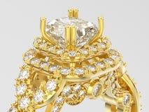 diamante decorativo do solitário elegante do ouro amarelo da ilustração 3D Fotografia de Stock Royalty Free