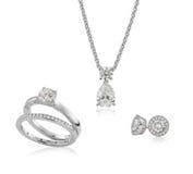 Diamante dei gioielli ed insieme dell'oro Immagine Stock