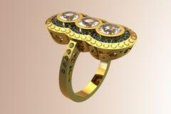 Diamante del diseñador/anillo de bodas exclusivos del oro del Topaz Fotografía de archivo