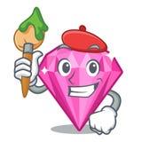 Diamante del rosa del artista sobre la tabla del maquillaje del carácter stock de ilustración