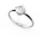 Diamante del wiith del anillo de bodas ilustración 3D Imágenes de archivo libres de regalías