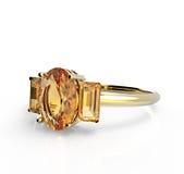 Diamante del wiith della fede nuziale isolato su un fondo bianco Fotografia Stock