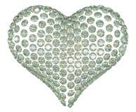 Diamante di forma del cuore o insieme della pietra preziosa isolato Fotografia Stock Libera da Diritti
