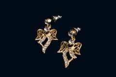 Diamante do dia de Valentim, presente dos earings Fotografia de Stock Royalty Free