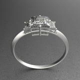 Diamante do wiith da aliança de casamento ilustração 3D Imagem de Stock