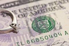 Diamante e dólar Foto de Stock