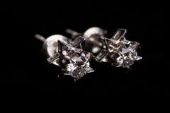 Diamante earing Imagen de archivo libre de regalías