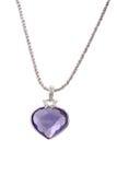 Diamante a forma di del cuore blu e del pendente d'argento Fotografie Stock Libere da Diritti