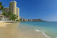 Diamante Havaí principal panorâmico da praia! Fotografia de Stock