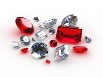 Diamante hermoso determinado y piedras de rubíes Imágenes de archivo libres de regalías