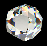 Diamante isolato sulla rappresentazione nera del fondo 3D Fotografia Stock Libera da Diritti