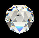 Diamante isolato sulla rappresentazione nera del fondo 3D Immagine Stock