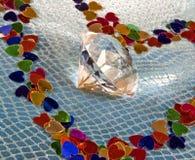 Diamante nel centro del cuore Fotografia Stock Libera da Diritti