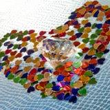 Diamante nel centro del cuore Immagini Stock Libere da Diritti
