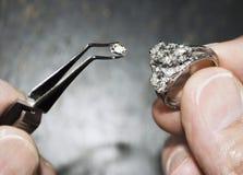Diamante in pinzette con l'anello Fotografia Stock