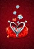 Diamante que cae en el monedero con el corazón Foto de archivo libre de regalías