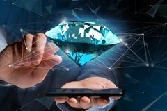 Diamante que shinning na frente das conexões - 3d rendem Imagem de Stock