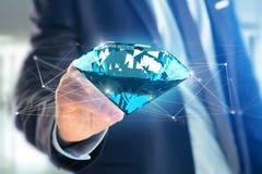 Diamante que shinning na frente das conexões - 3d rendem Fotos de Stock Royalty Free