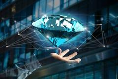 Diamante que shinning na frente das conexões - 3d rendem Imagens de Stock