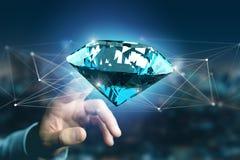 Diamante que shinning na frente das conexões - 3d rendem Fotografia de Stock Royalty Free